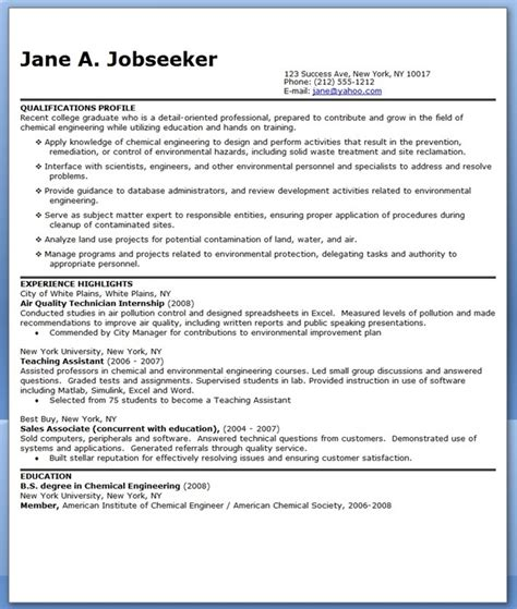 cv template chemical engineer