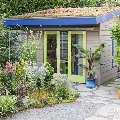 Garden Room With Living Roof by A Gallery Of Garden Shed Ideas Better Homes Gardens