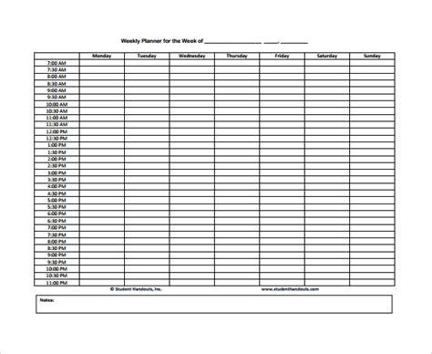 weekly agenda samples   ms word