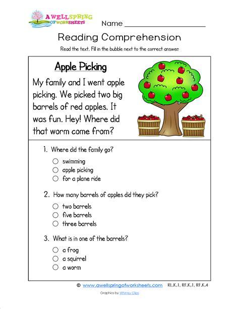 Reading For Kindergarten  A Kindergarten Reading Comprehension Worksheet About Picking Apples