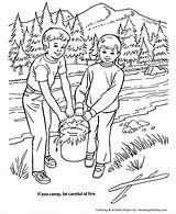 Coloring Pages Fire Arbor Forest Camping Safety Honkingdonkey Trees Clipart Colouring Put Camp Nature Tree Plant Planting Care Holiday Arbour sketch template