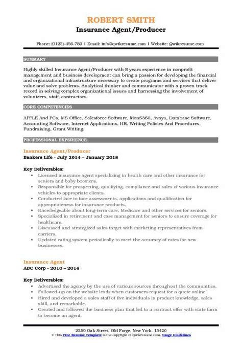 Search and apply for the latest insurance consultant jobs. Insurance Agent Resume Samples | QwikResume