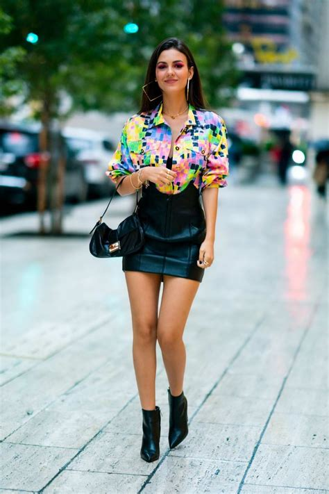 victoria justice rocks a colorful shirt with black leather ...