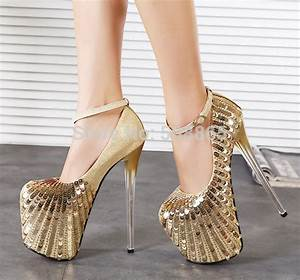 20 Cm High Heels : 20cm high heel women gold glitter shoes pumps red bottoms ~ Lateststills.com Haus und Dekorationen