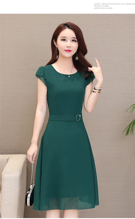 spring female mom chiffon   dress  summer korean