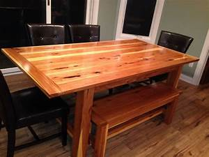 Custom Made Hickory Farm Table With Matching Bench By