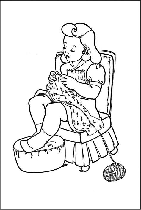 kids printable coloring page girl knitting