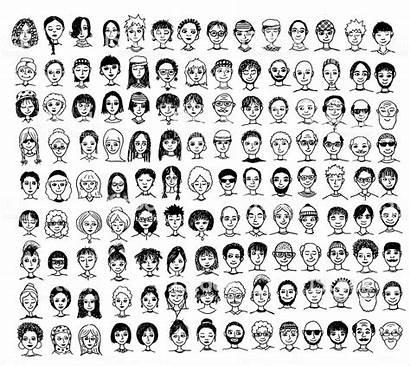 Faces Drawn Diverse Hand Face Cartoon Vector