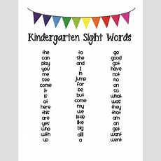 Kindergarten Sight Word List  Classroom Pinterest