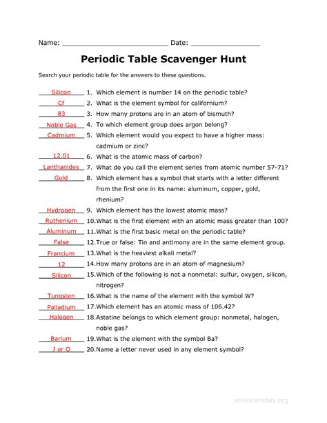 periodic table scavenger hunt answer key science notes and projects