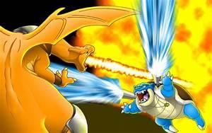 Pokemon yellow Blastoise battles Charizard wallpaper ...