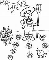 Coloring Farmer Worksheet Printable Spring Sheet Vegetables sketch template