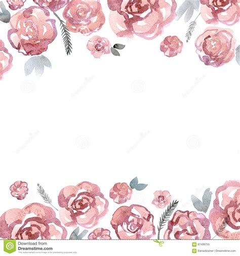 cute watercolor flower border  pink roses invitation