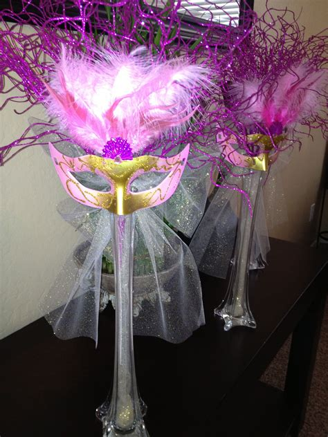 Masquerade Centerpiece Made It For My Sisters Sweet 16