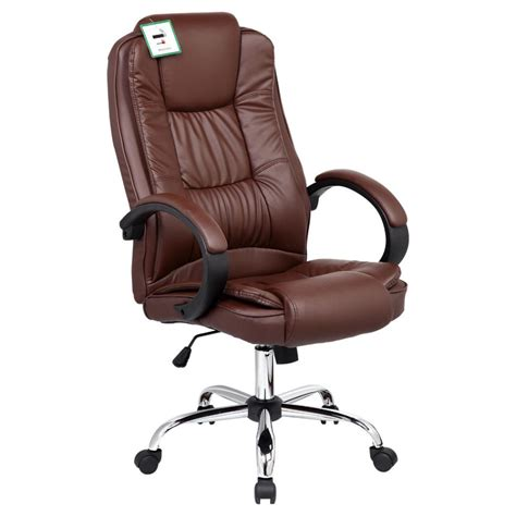 santana brown high back executive office chair leather