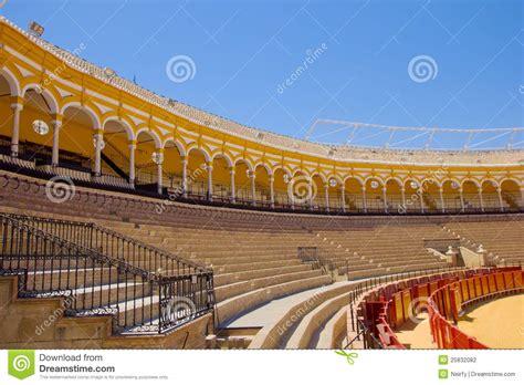 design on stock villa arena seats of bullfight arena sevilla spain stock photography
