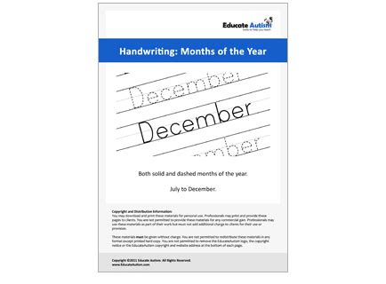 handwriting worksheets months   year