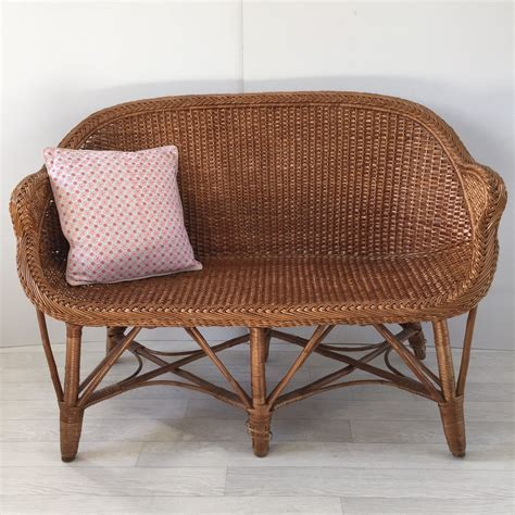 Rattan Settee by Vintage Rattan Wicker Settee Sofa 2 Seater Banquette