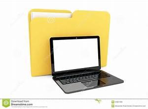 Laptop Computer With Folder Stock Photos - Image: 34821393
