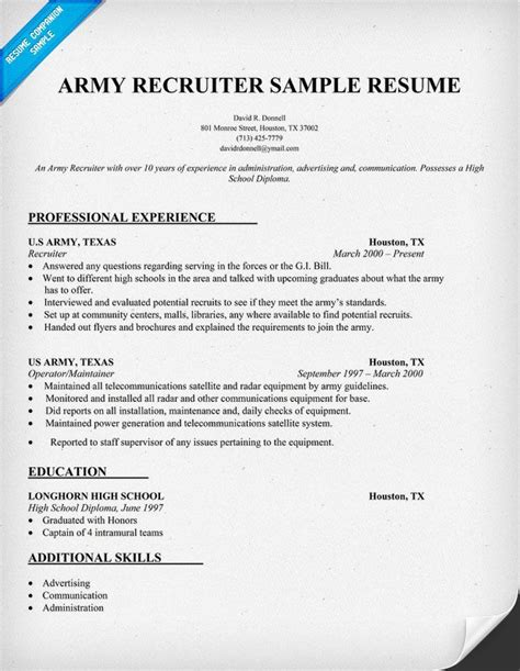 army recruiter resume sle http resumecompanion