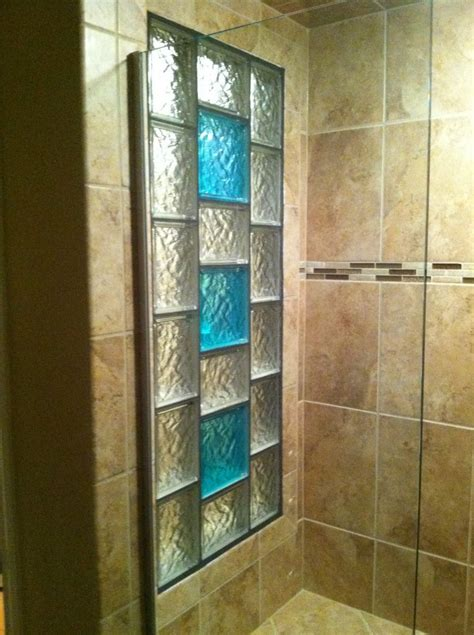 Basement Kitchen Ideas - decorative glass block borders for a shower wall or windows