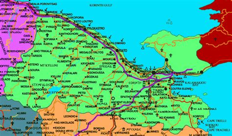 korinthia map detailed map  korinthia greece