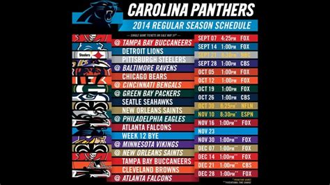 nationally televised games  panthers  schedule