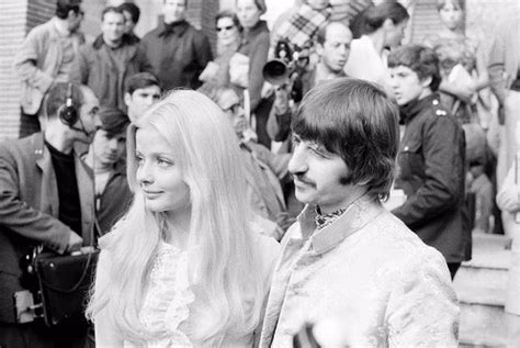 vintage photos of ringo starr and ewa aulin on the set of
