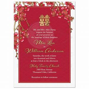 double happiness chinese wedding invitation cherry blossom With blank chinese wedding invitations
