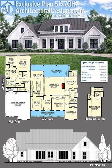 plan hz open concept farmhouse  bonus