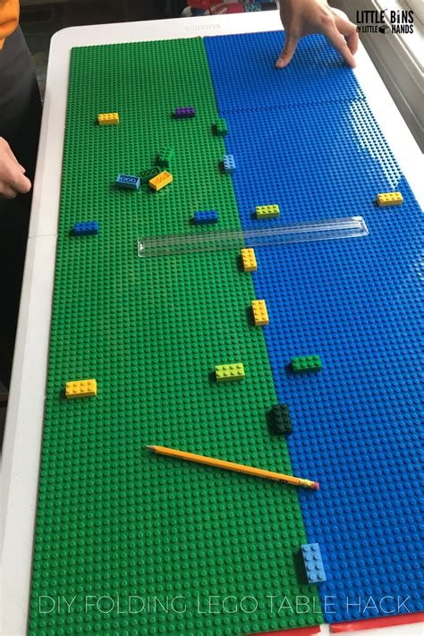 folding lego table diy project  peel  stick base plates