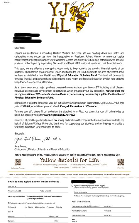 young alumni solicitation letter personalized  major