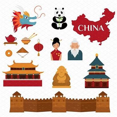 Chinese Culture China Traditional Vector Illustration Objects