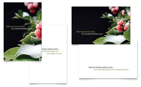 holly leaves greeting card template word publisher