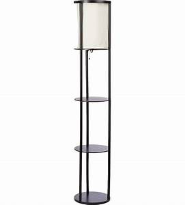 Three shelf floor lamp in free standing shelves for Floor standing lamp with shelf
