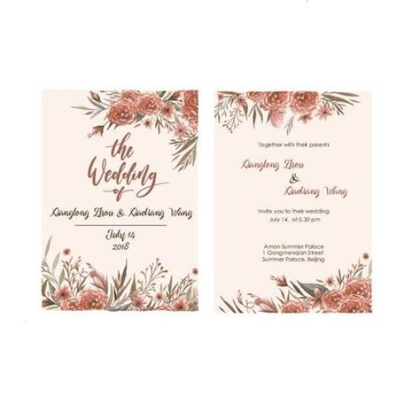 Single page wedding Invitation with red flower theme Card