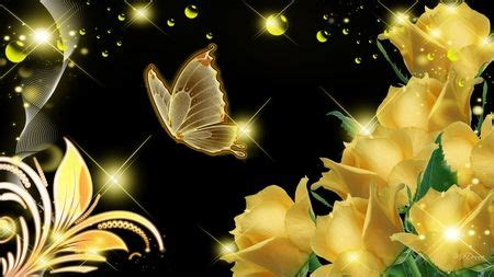 gold butterfly wallpaper roses glow flowers nature