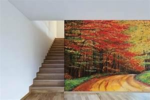 Tableau Trompe L Oeil Paysage : poster mural trompe l 39 oeil chemin forestier izoa ~ Melissatoandfro.com Idées de Décoration