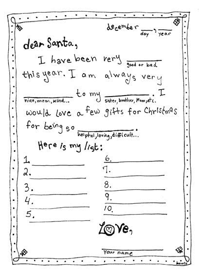 bnute productions letter  santa mad libs style