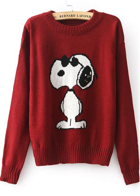 snoopy sweater sleeve snoopy pattern knit sweater sheinside com