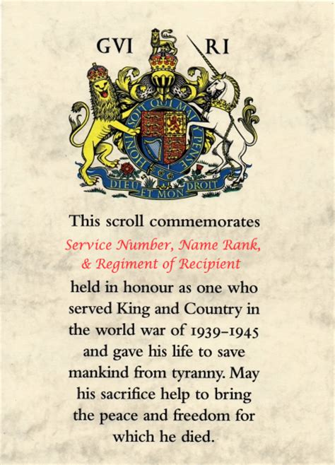 memorial scroll wwii empire medals british military medals