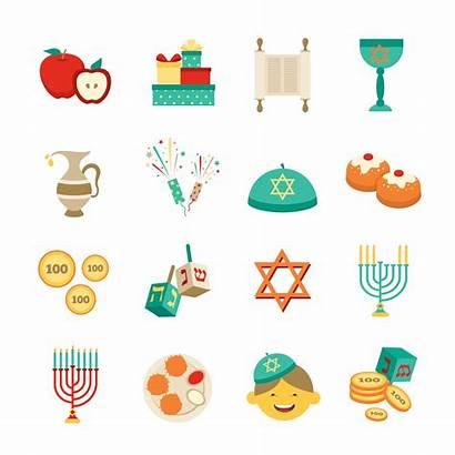 Hanukkah Symbols Icons Vector Items Illustration Menorah