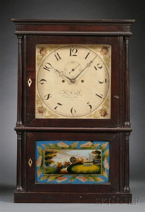 mahogany  column shelf clock  heman clark sale number  lot number  skinner