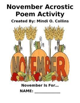 november acrostic poem activity  collins classroom