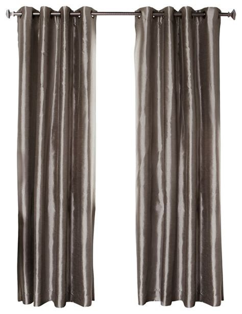 dupioni faux silk grommet top blackout curtain 1 pair