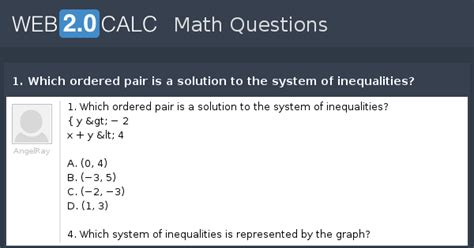 View question - 1. Which ordered pair is a solution to the ...