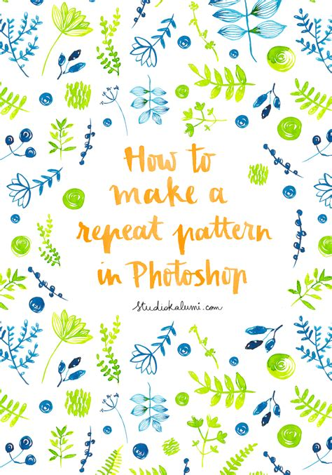 Tutorial #2 How To Make A Repeat Pattern In Photoshop — Nathalie Ouederni Watercolor