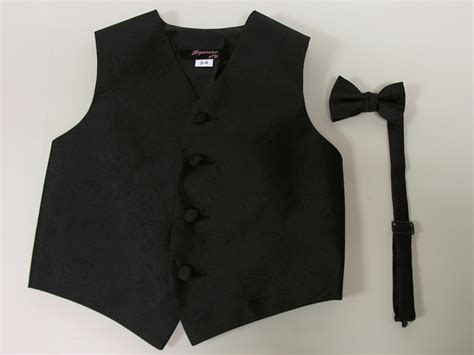 56 Black Vest And Bow Tie, Boys Black Vest And Bow Tie Or