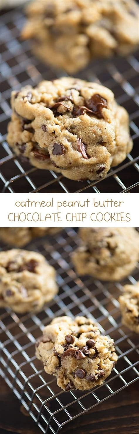 peanut butter oatmeal chocolate chip cookies buns   oven