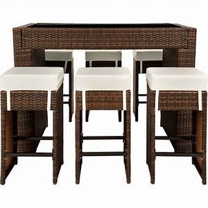 Barhocker Tisch Set : polyrattan aluminium barset tisch 6 barhocker rattan bar theke lounge braun ebay ~ Whattoseeinmadrid.com Haus und Dekorationen